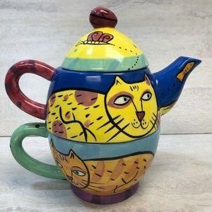 Happy Dog & Cat Tea Set for One by Karen Gelff